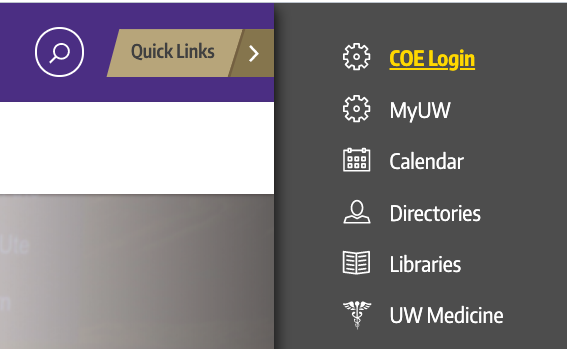 COE Login: Located under 'Quick Links' menu
