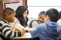 Teacher in a dual language classroom