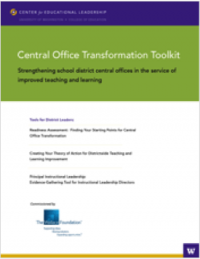 The University of Washington Center for Educational Leadership (CEL) has released a set of three tools designed for school district central office leaders, especially principal supervisors, to help principals improve teaching and learning in every school across the district.