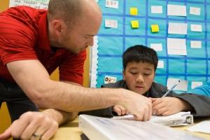 Teacher with a student